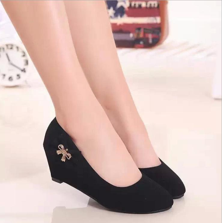 2015 shallow mouth black suede shoes OL new round of slope documentary comfortable high-heeled shoes occupation