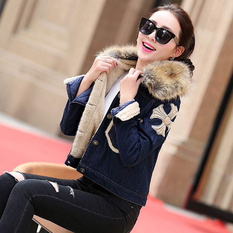 Jean jacket female add hair thickening brief paragraph collars warm wool coat the new winter 2015 han edition dress