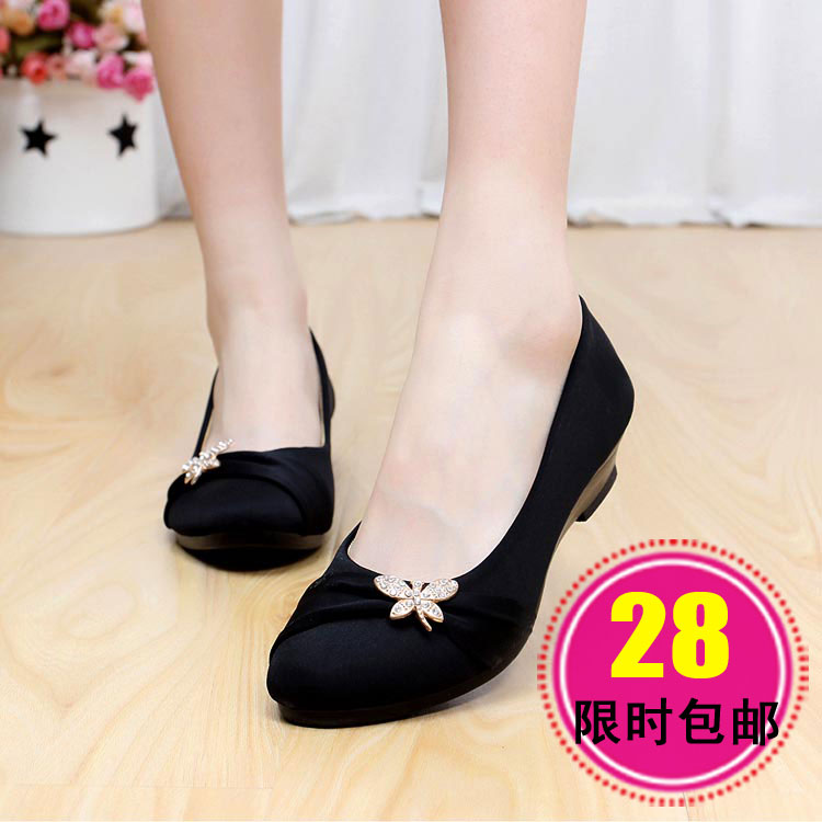 Women's spring shoes autumn slope heel with work shoes old comfortable occupation Beijing hundred lap black shoes one pedal