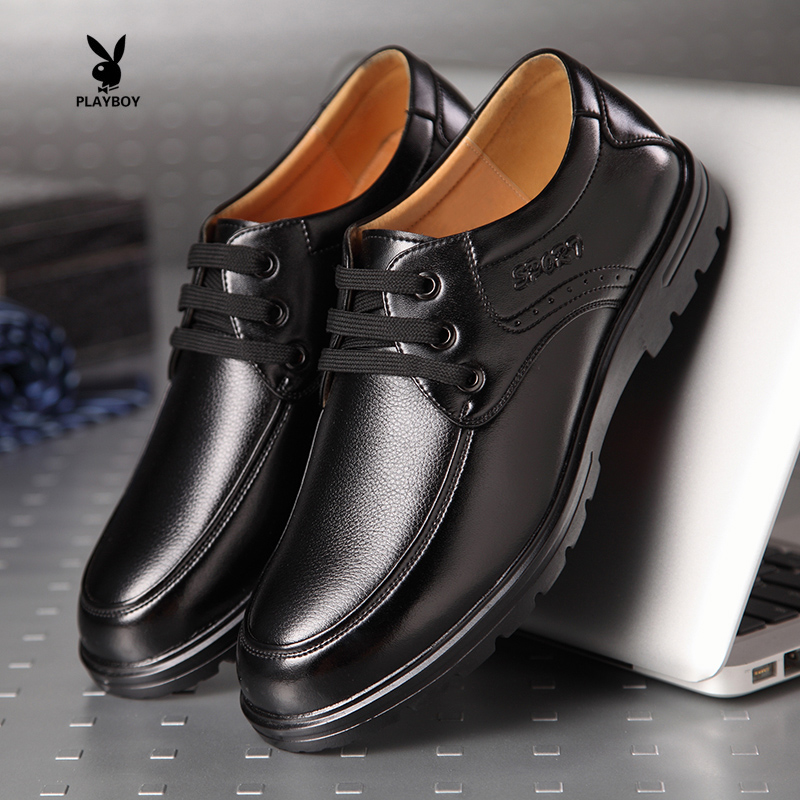 Business attire fall 2015 new genuine cowhide men's shoes casual man leather shoe lace round head of England wedding shoes