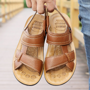Men's leather leather sandals men's summer casual beach shoes 2017 new Korean style leather slippers