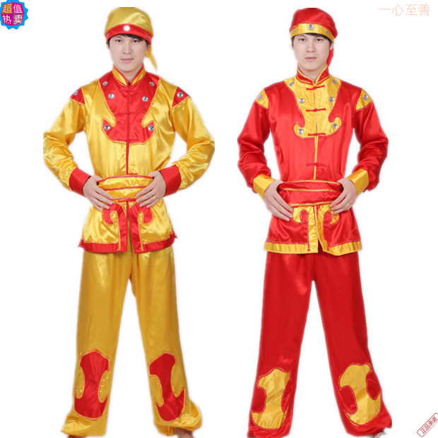 2015 new dance yangko dance square dance costume Mens Suit suit old drum drum national costume