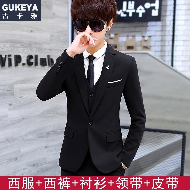 青少年西服套装男士韩版修身小西装三件套学生结婚正装休闲西装潮