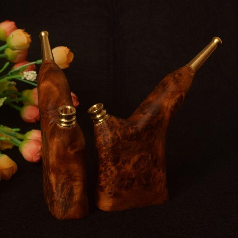 High cliff cypress wood cigarette holder Chen material tumor scar tiger stripes pipe circular filter cleaning filter for men