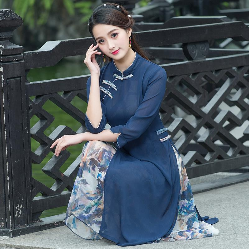 China wind spring summer new folk style in the long section of the manual Pankou dress dress cheongsam