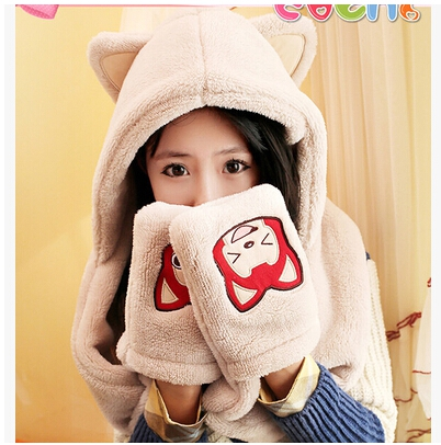 The autumn winter scarf lovely lady Ali conjoined double coral fleece scarf hat gloves three piece students