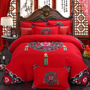 The elegant four piece wedding nest Cotton wedding bedding sanding thickened cotton bedding fitted red wedding