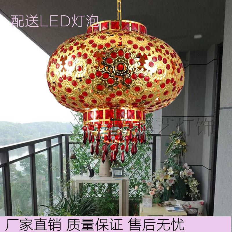 LED iron Crystal glowing red lanterns festive balcony door ads rotate Lantern chandeliers wholesale