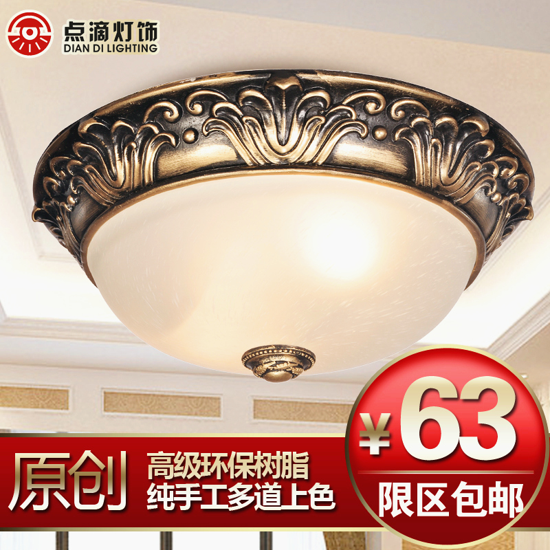 European style ceiling lamp, resin imitation metal retro living room lamp, porch lamp, bedroom corridor balcony, European style dome light