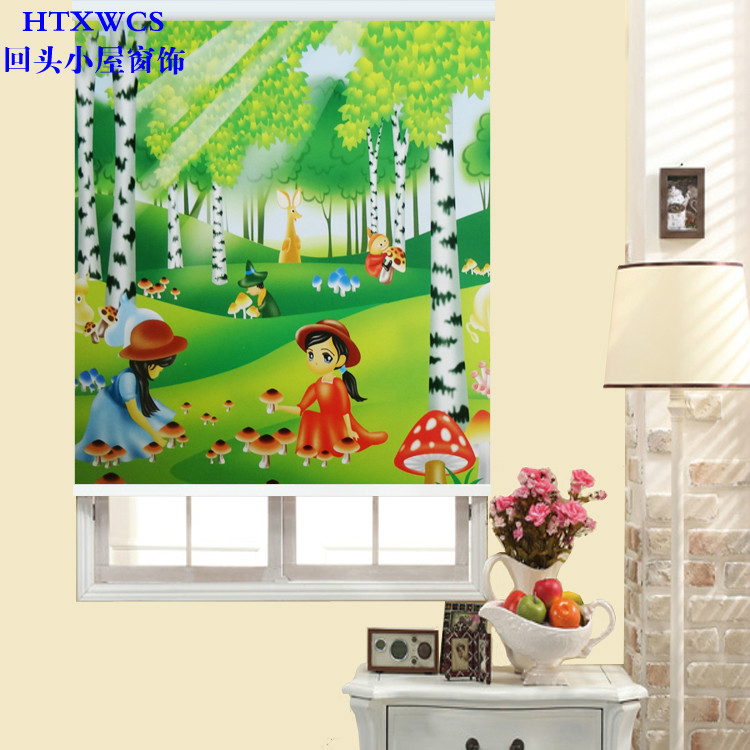Lazhu roller blinds shading-wide child cartoon room bedroom living room Bay window waterproof paint lifting insulated curtains