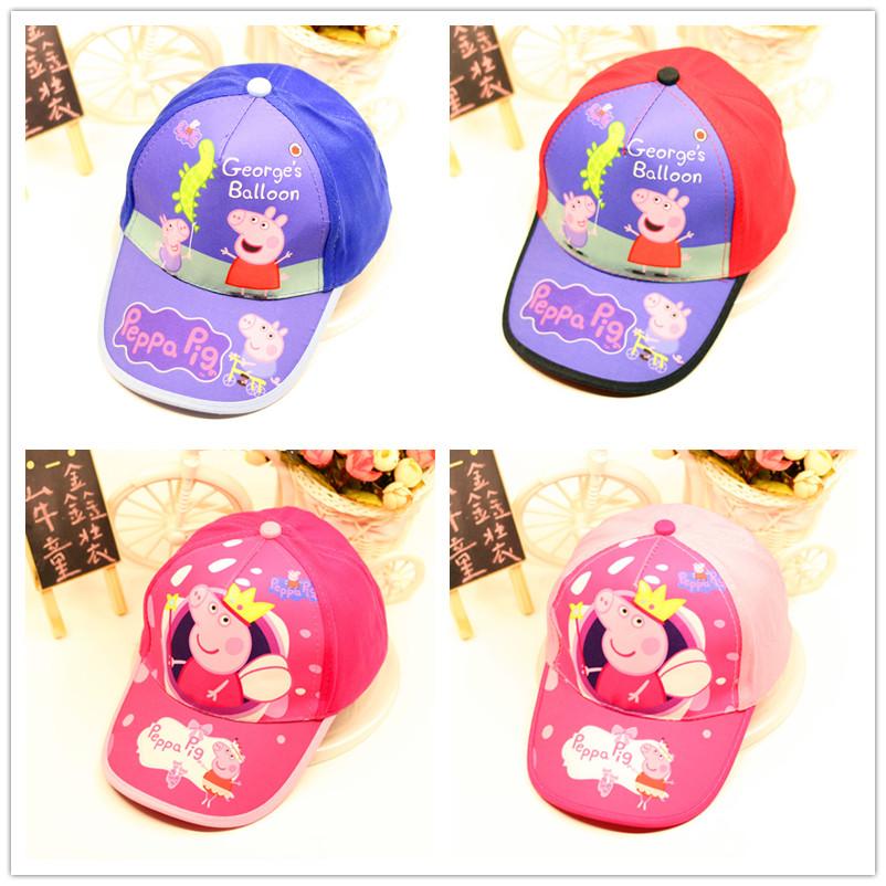 小猪佩佩奇卡通儿童棉帆布帽子男童女童鸭舌帽棒球帽遮阳帽包邮