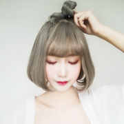 Kim Keri wig female hair short hair Bobo head pear head air bangs wig grandma grey South Korean Students