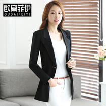 2016 small long trench coat jacket girls autumn new female business suit temperament long sleeve solid color