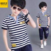 Big kids boys summer suit 2017 summer children children's T-shirt suit summer cotton stripe child