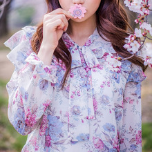 Chuu Korea website direct mail genuine beautiful floral shirt loose chiffon shirt printing department led LOTUS DRESS