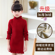 Girls spring sweater Turtleneck Long 2017 in new childrens knitted shirts at the end of the baby clothes