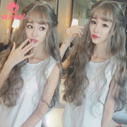 Korean Ladies Wig, long hair, air bangs, corn hot, long hair, fluffy, realistic wave, instant noodles, roll, wig sets