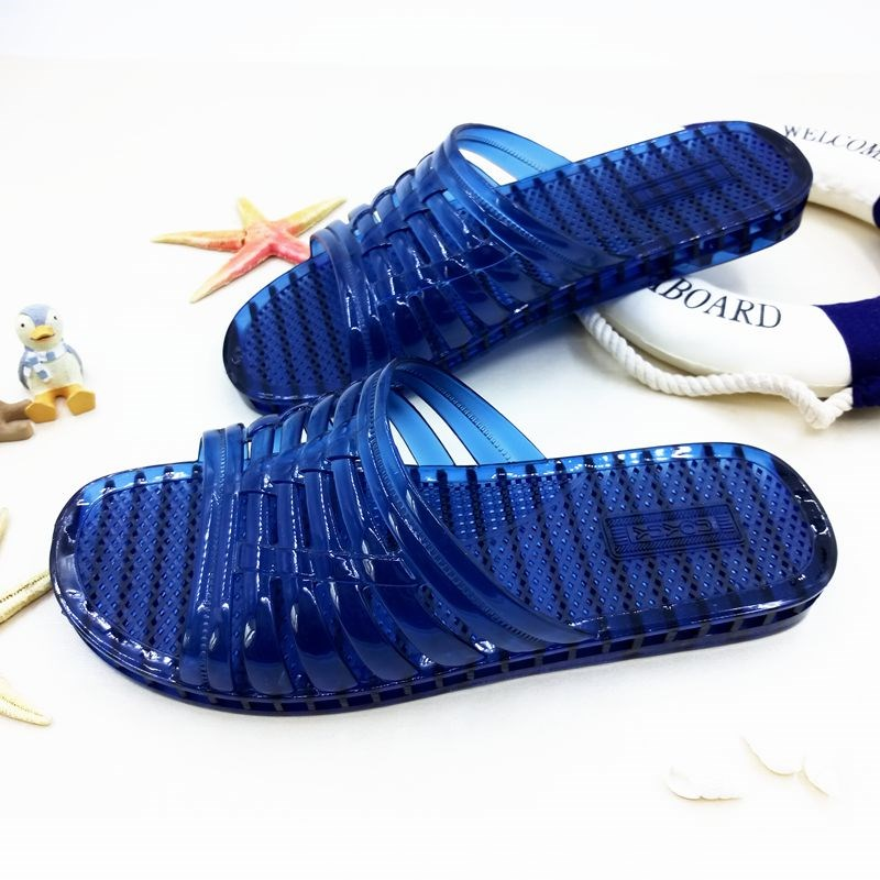 Crystal clear indoor air conditioning slippers, summer plastic slippers, men's home use deodorant bathroom, bath water anti-skid