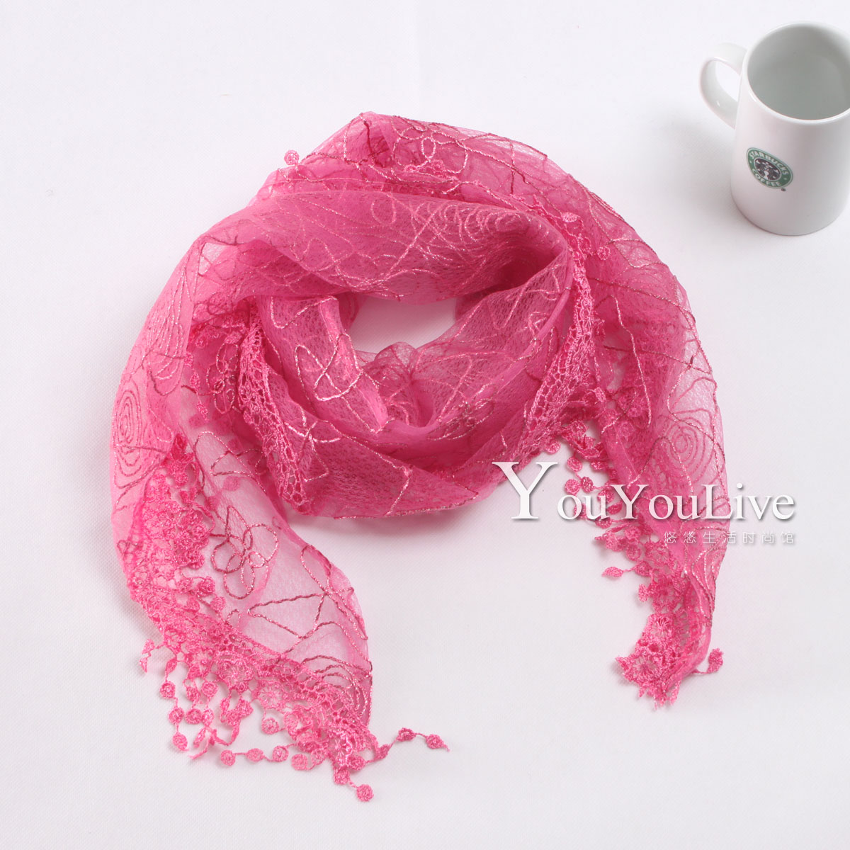 Real shot fashionable lace scarf, scarf, silk scarf, multicolor BQ60003
