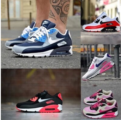 MAX90 cushioned shoes sports shoes men Korean version flows increased in black and white couples Forrest running shoe women's shoes