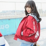 BF night wind loose hooded jacket and long sleeved casual female Korean Baseball Jacket cardigan students printing