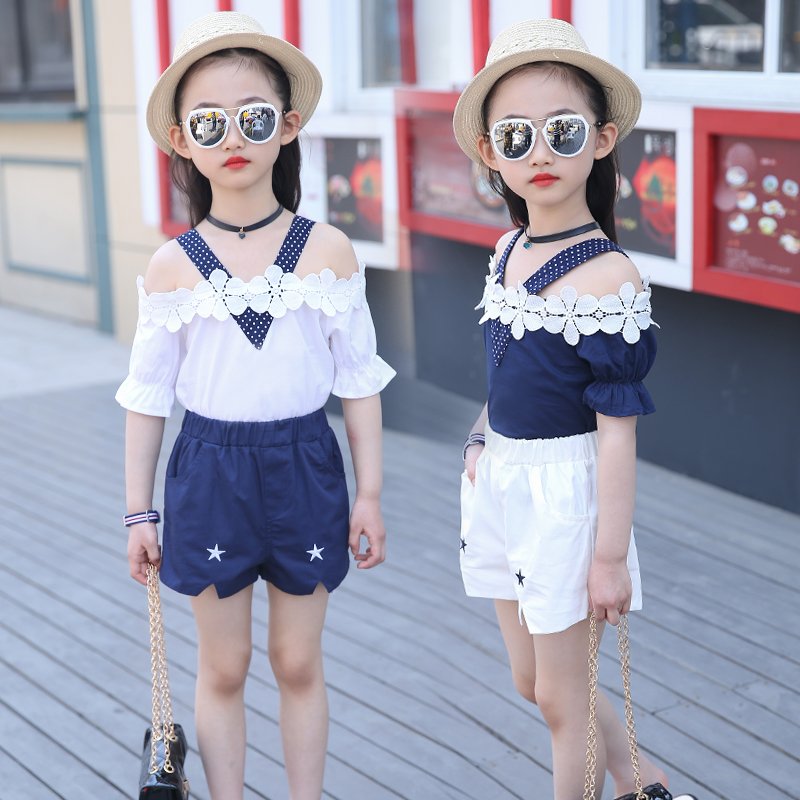 5 children 11 girls summer suit 6 summer 2017 new 9 Girl 10 8 12 year old Korean short sleeved clothes tide