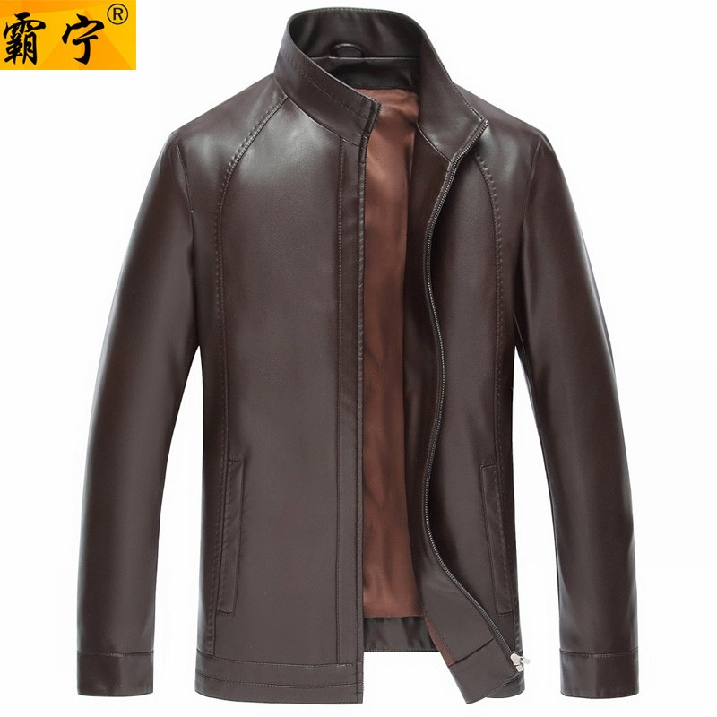 40nan middle-aged man leather jacket coat collar in the spring and autumn day 45-50 to 60 year old dad leather clothing