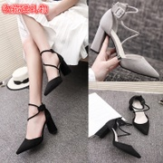 Summer sandals female 2017 new Korean all-match rough heels female pointed black suede shoes work