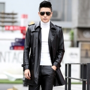 2016, autumn and winter long men's leather clothing, young Korean version of self-cultivation, Haining large yards of leather windbreaker, thickening coat coat