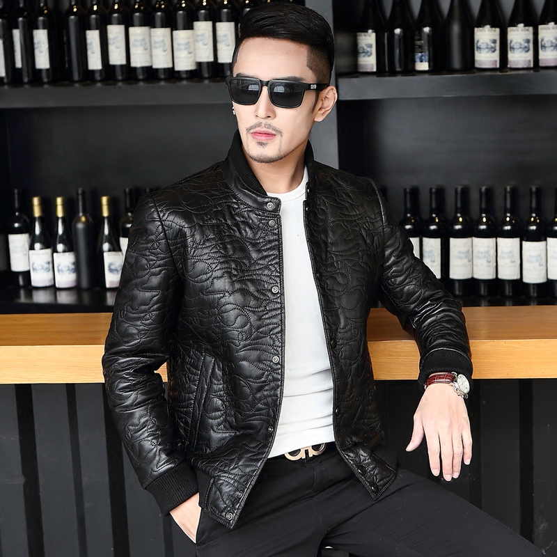 The spring and autumn new men's Leather Men slim collar sheepskin leather suit jacket embroidered youth