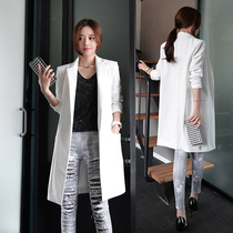 2015 autumn new long Korean temperament little white suit girls loose long sleeves Ladys suit long jacket