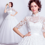 Luxurious Chinese collar lace flower princess bride wedding dress with long sleeves 2017 new spring 6019