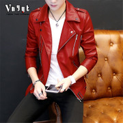 Young personality, short leather jacket, men's Korean version, motorcycle leather jacket, trend spring and summer handsome casual thin coat