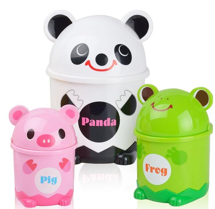 桌面粉绿可爱迷你小号垃圾桶创意家用小猪小熊猫青蛙儿童卡通翻盖