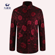 60-70 at the age of 80 years old men Tangzhuang overcoat plus velvet autumn and winter coat Claus grandfather father put