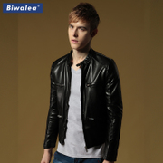 The new Biwalea fall short leather collar male youth slim men all-match PU leather jacket tide