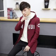 Men's coats in winter and thickening in the long section of cotton velvet Metrosexual hooded cotton padded jacket young Korean Students