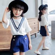 2017 new girls summer suit Korean fashion wear short sleeved shirt shorts Chiffon two piece children tide