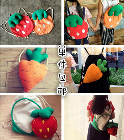 Korean children carrot Strawberry Fruit Bag Canvas baby backpack bag bag kindergarten children