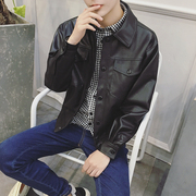 Aberdeen autumn young men motorcycle leather loose Korean Japanese trend of men's leather jacket casual student tide