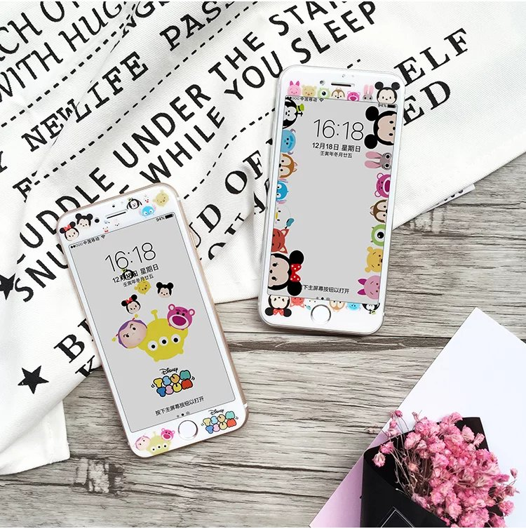 Mail Disney 3D cambered surface cartoon 6S toughened film, apple 6plus all wrapped color film, iPhone7 lovers film