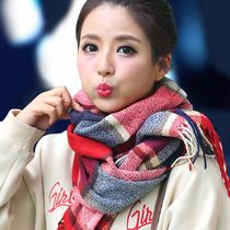 Korean female winter wool Plaid cashmere scarf more shawls dual-purpose long autumn and winter to thicken student bib