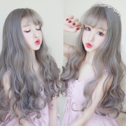 South Korea lady wig long hair curl air bangs corn hot fluffy real wave instant noodles roll wig