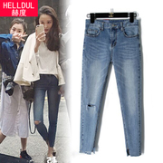 Hector of spring retro ripped jeans nine female waist knee pants skinny stretch feet pencil pants