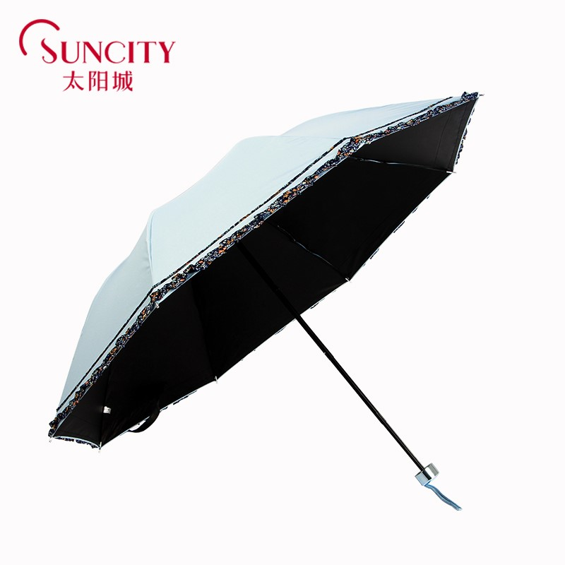 Uv protection umbrella vinyl is prevented bask in female sun umbrella fold thirty percent fresh lace weather dual-use umbrella