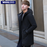 WOOG2005 in the long section of male cotton coat 2016 winter clothes new casual hooded black cotton male thickening