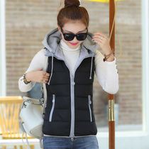2016 cotton vest women short thickened Korean version of self in autumn and winter plus size fashion hooded cotton vest vest vest women
