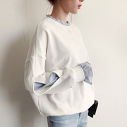 Two white turtleneck sweater fake female Korean students 2017 new spring tide loose splice sleeve head BF thin section