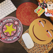 Korean creative cartoon cute anime Japanese anime soft sister smiley face round office game mouse pad