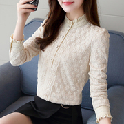 2017 autumn and winter fashion Korean female with cashmere thickened long sleeved shirt all-match lace shirt warm small shirt